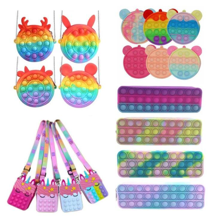 DHL Coin Purse Favor Push Bubble Pencil Case Fidget Toys Rainbow Silicone Girls Bags Antistress Stress Reliever Toys for Children Adult HS07