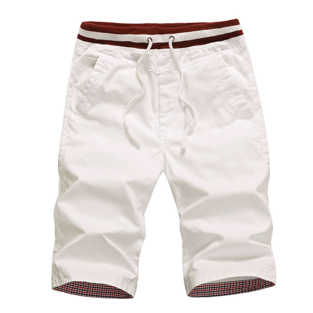 Mens Summer Shorts Cotton Solid Color Beach Shorts Male Loose Drawstring Casual Sports Shorts Asian Size M-4XL