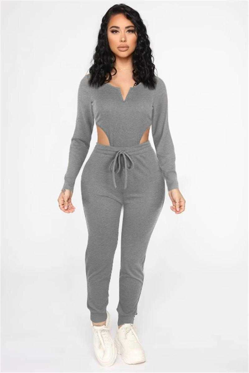 wholesale items long sleeve sportswear two piece set tracksuits outfits sexy v-neck y2k top trousers sweatsuit pullover tights legging suits klw7327