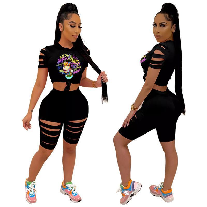 Plus size Summer clothing Women ripped tracksuits t-shirt shorts hole plain casual sets short sleeve 3XL pullover crew neck outfits fashion capris DHL 4894