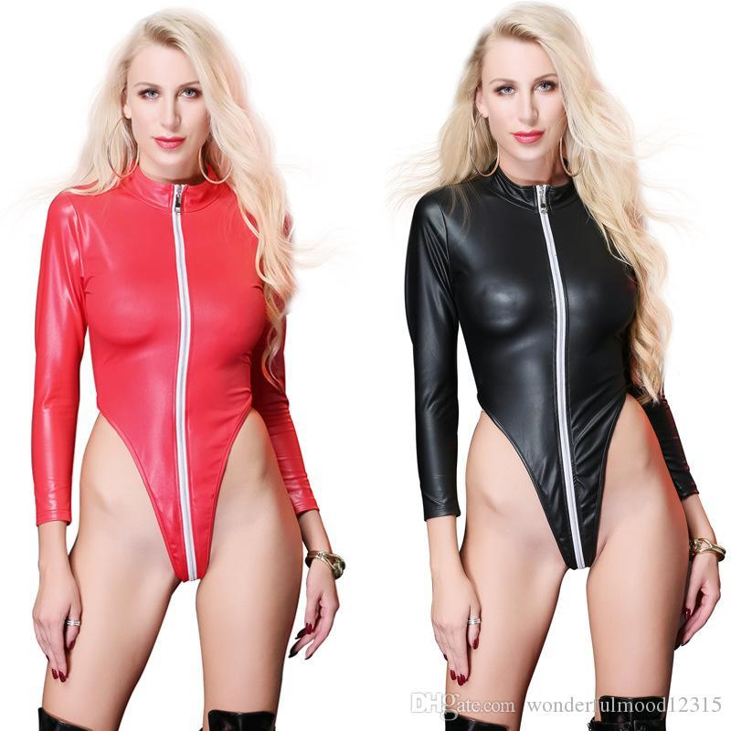 Women Sexy Bodysuits Long Sleeve PU Leather Jumpsuits Open Crotch Zipper Clubwear Catsuit Bondage High Cut Leotard PU Bodysuits