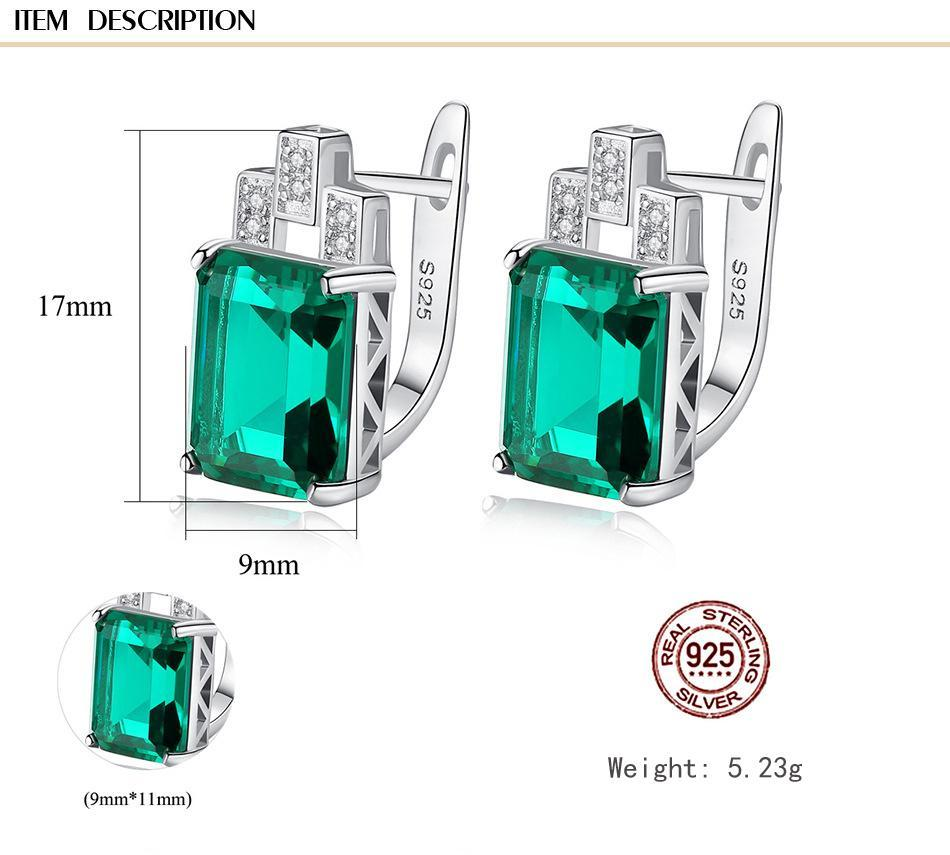 Gemstone Clip On Earrings, Luxury 7.6ct Nano Russian Simulated Emerald and Sapphire 925 Silver Clip earring Women Jewelry SE0110