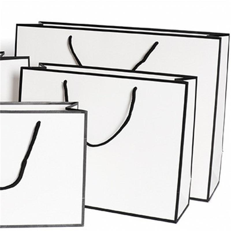 White Present Paper Bags Kraft Card Packaging Bag Cloth Fashion Storage Handbag Thickening Shopping Advertising Custom 1 86gr B2