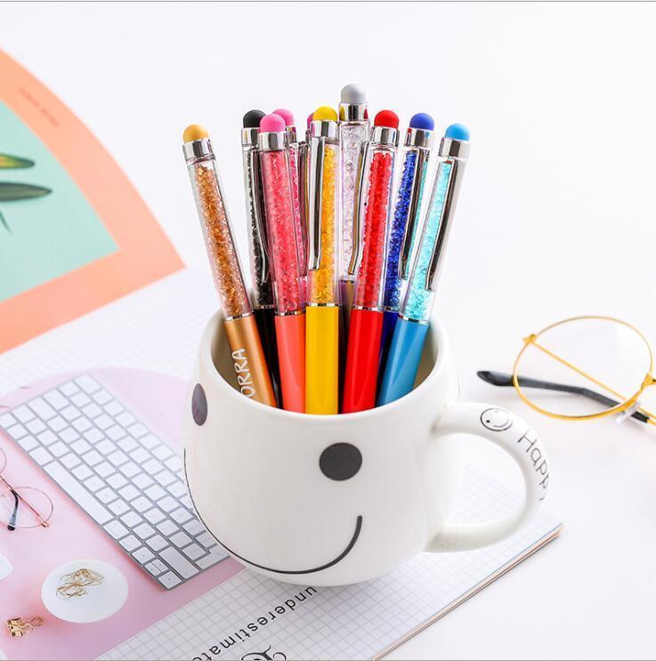 Ballpoint Pens Crystal Manual Ballpois Creative Fashion Metal Multicolor Ballpoint Pen Writing Supplies Business Gifts XTL458