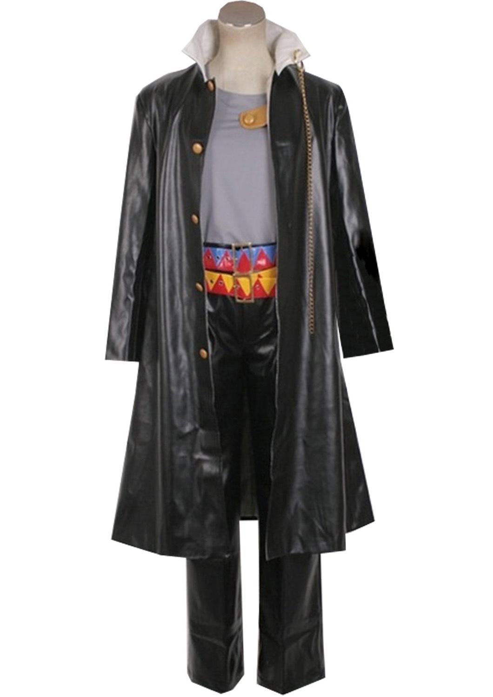 JoJos Bizarre Adventure Kujo Jotaro Cosplay Costume Mens Leather Uniform Halloween
