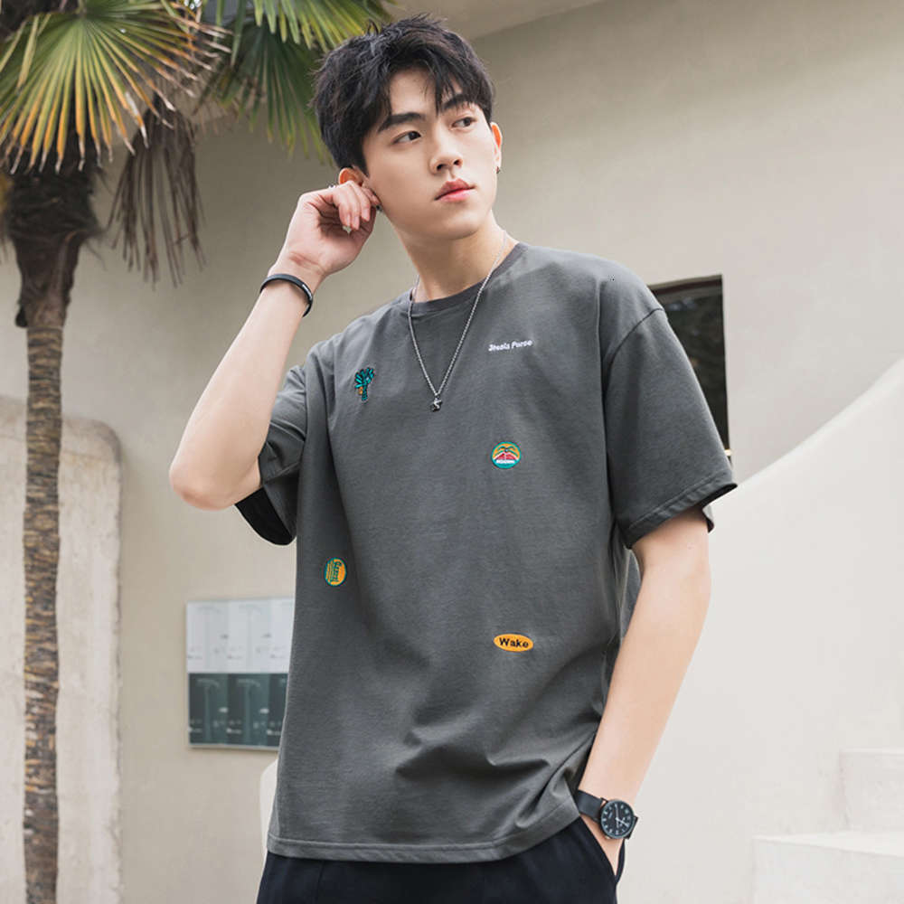 2021 Brand Fashion Shirt Sleeves tee Casual O NECK T-shirt Black White Cotton Summer Clothes TOP TEES OverSize M-5XL T-Shirts