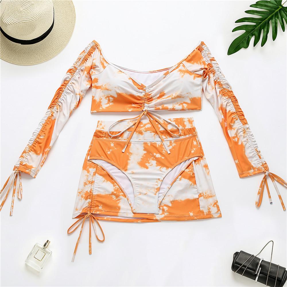 Vintage Top Selling Swimsuit Ladies Printed Tie-Dye Long-sleeved Two Colors Three-Piece Bikini Set
