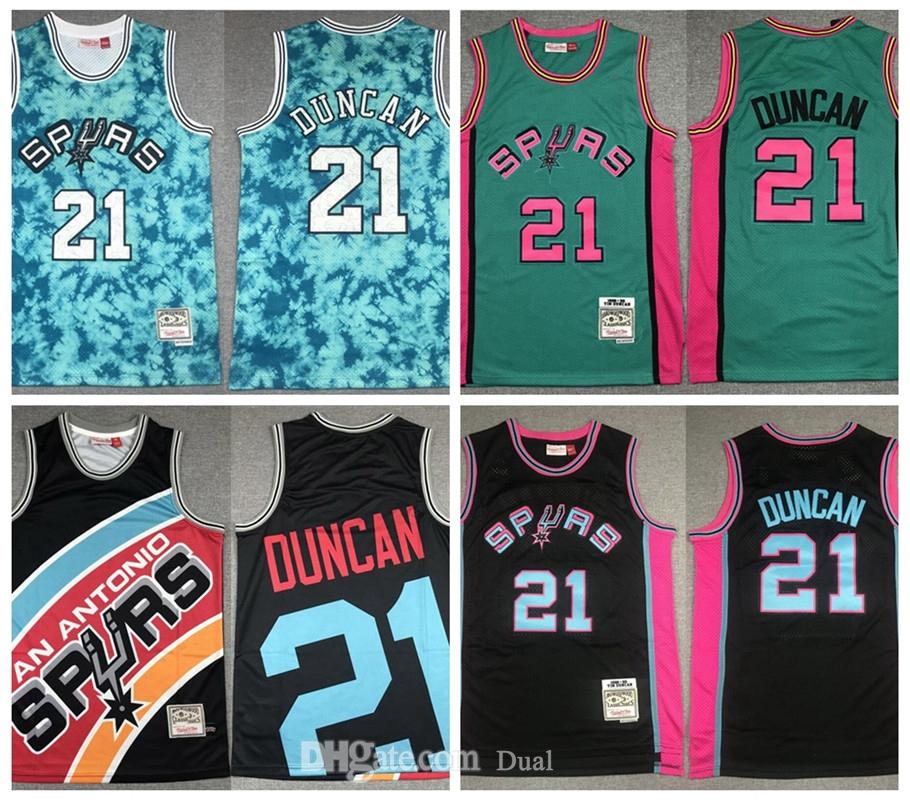 "Design Vintage Jersey Tim""21""Duncan""San""Antonio""Spurs""Mitchell & Ness Stitched Basketball Jerseys"