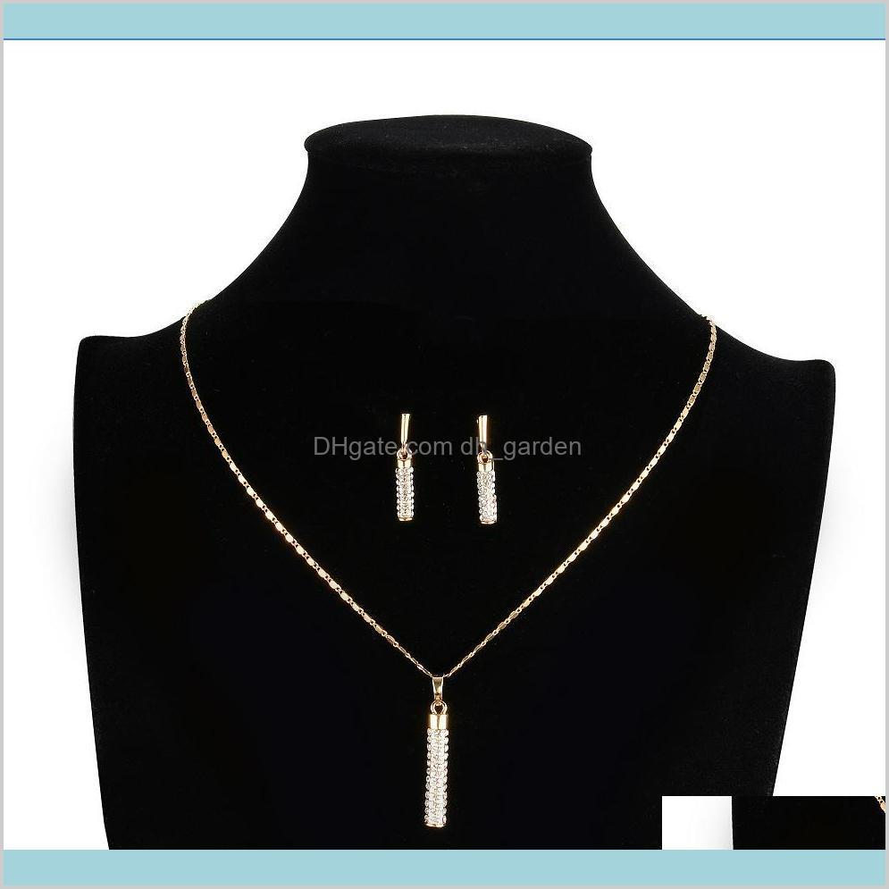 drop earrings and pendant necklace crystal clear 18k real gold plated sets shipping! hot sell ps1398