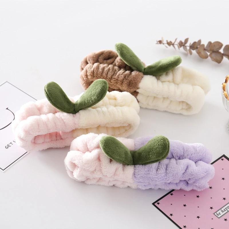 Plush Wide Headband Coral Fleece Elastic Hair Band Grass Bud Hairband Soft Headband Headwrap Turban Thick Velvet Makeup Headband