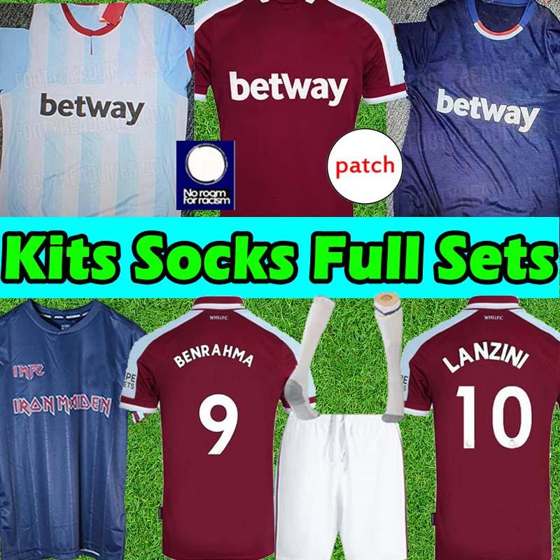 2021 2022 Adult+Kids Kits+Socks Full sets West IRON MAIDEN X LINGARD 21/22 soccer jerseys ham Centenary years jersey Cole DI CANIO Lampard camiseta football shirts