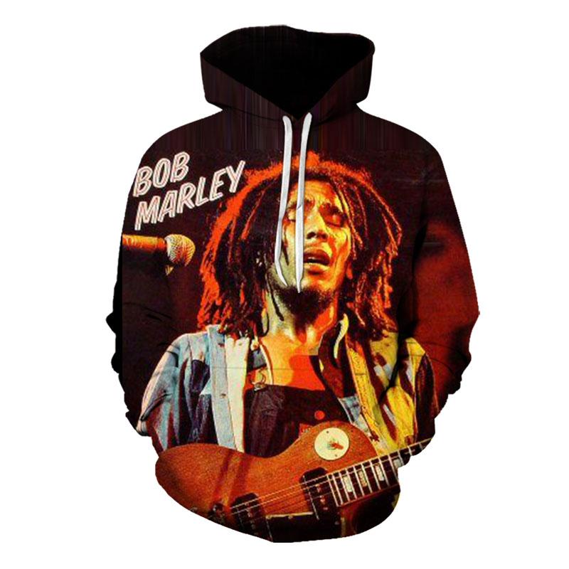 Cartoon Pattern Men s 3D Printing Hoodie Rock Bob Marley Visual Impact Party Top Punk Gothic Round Neck High Quality American Sweatshirt Hoodies