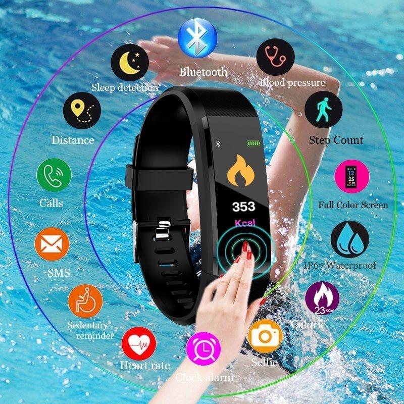 115Plus Smart Wristband Smart Watch Fitness Tracker Real Heart Rate Monitor Band Tracker Smart Bracelet Waterproof Smartwatch #018