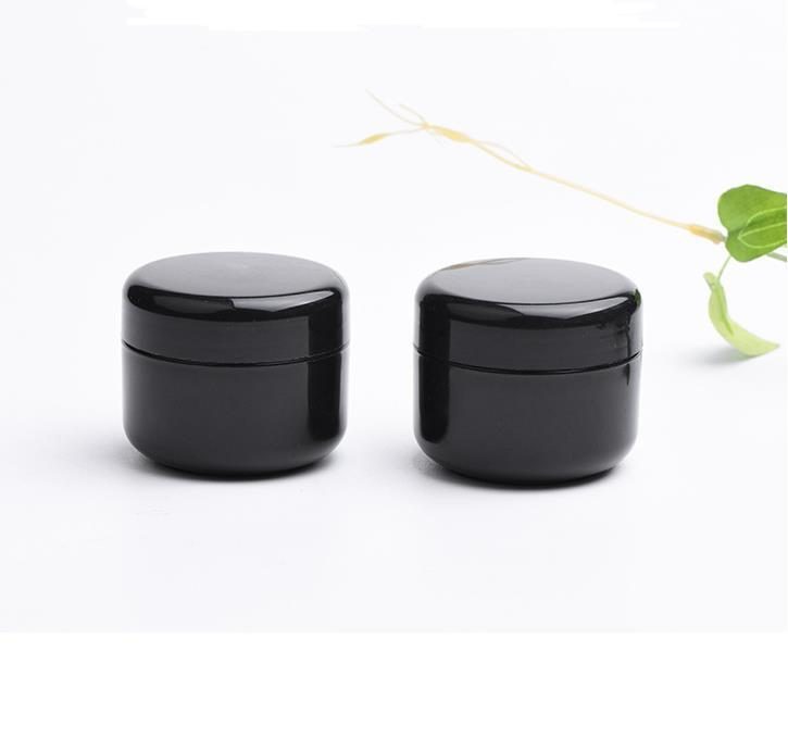 empty cosmetic containers 50g black PET plastic cosmetic jars with clear inner PP cover for hand/face cream mask SN5090