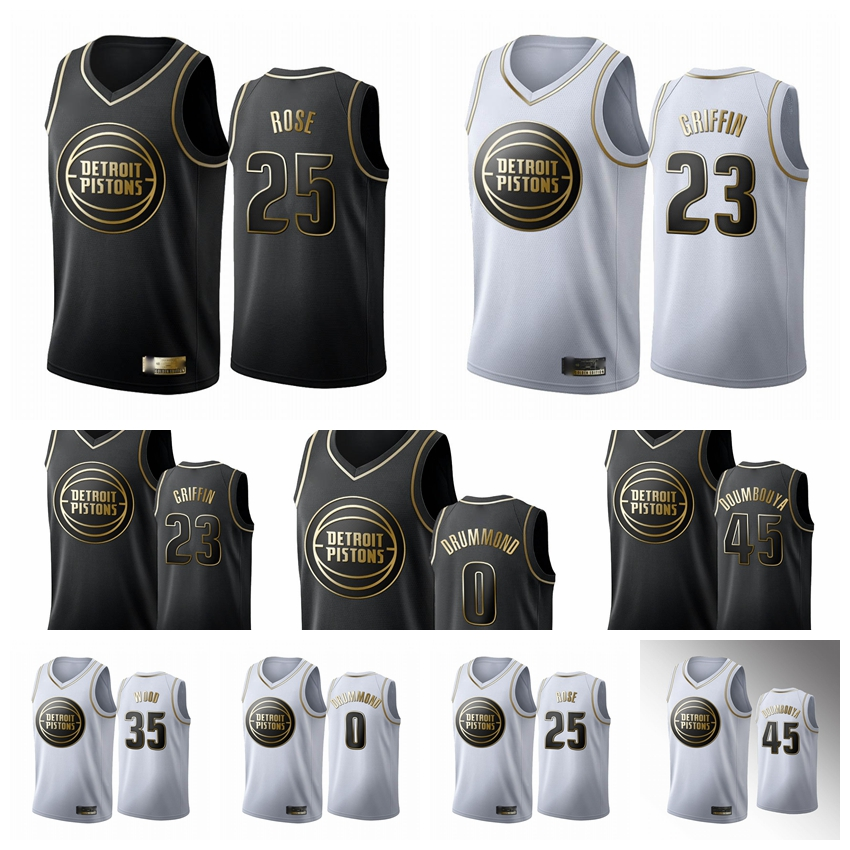 "Detroit""Pistons""Men Cade Cunningham Isaiah Livers Saddiq Bey Grant Lee Isaiah Stewart Griffin Drummond Rose Black White Golden Edition Basketball Jersey"