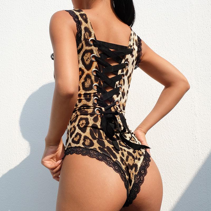 One Piece Women Lace Leopard Playsuits Underwear Bandage Bow Knot Designer Clothes Fashion Jumpsuits