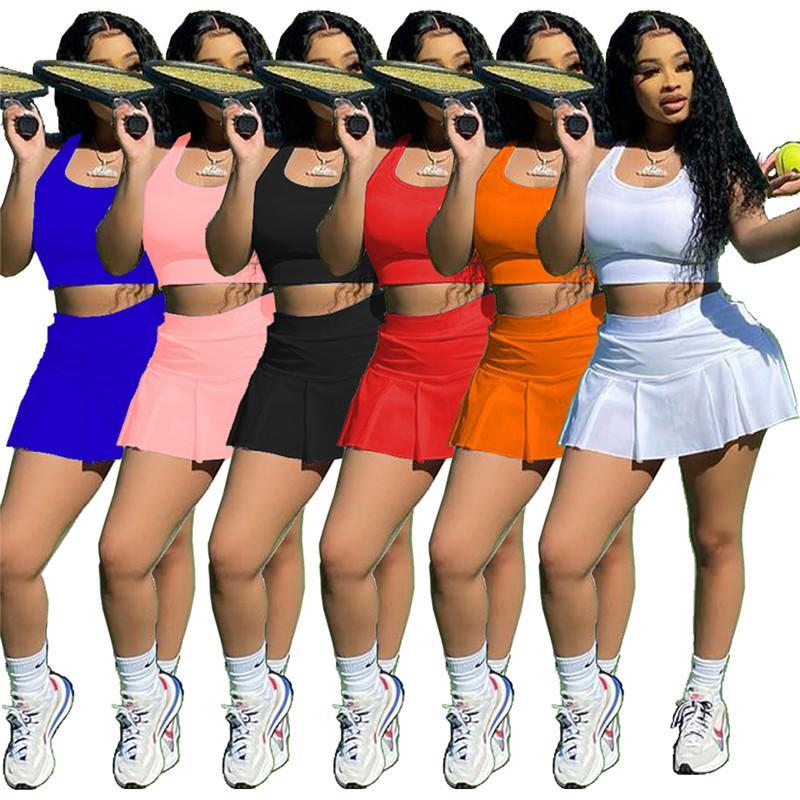 Wholesale Summer Leisure tracksuits sexy pure color slim sport vest culottes two sets outfits jogging sportsuit tank top skirt sweatshirt klw6504