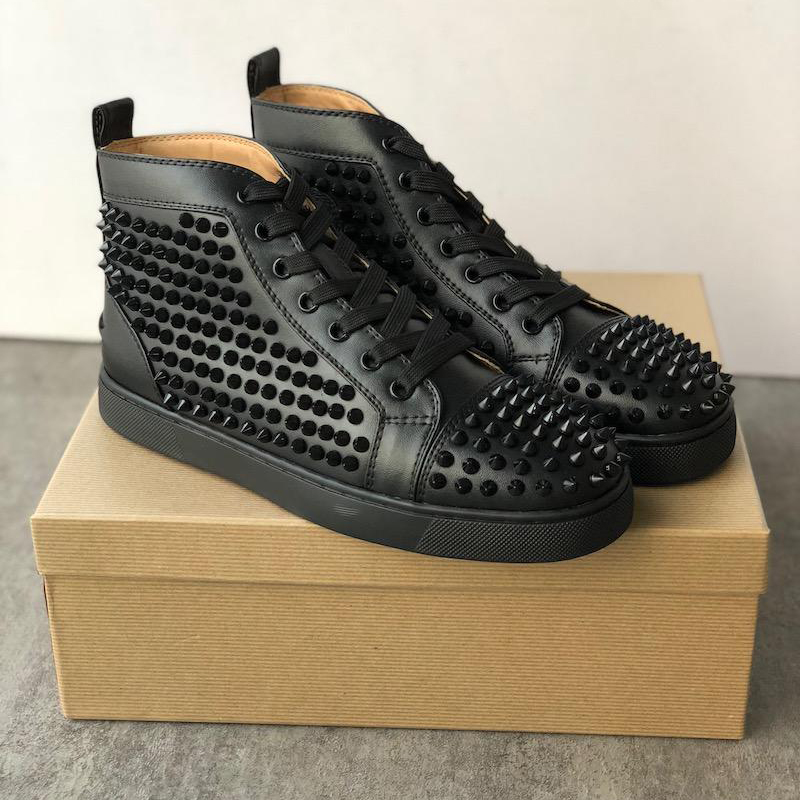 Top Quality Double Box High Cut Spikes Flats Shoes For Men Women Leather Sneakers With Dust Bag