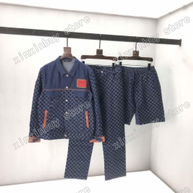 21ss men printed t shirts paris Denim Jacket dark Jacquard clothes short sleeve mens shirt tag letters blue