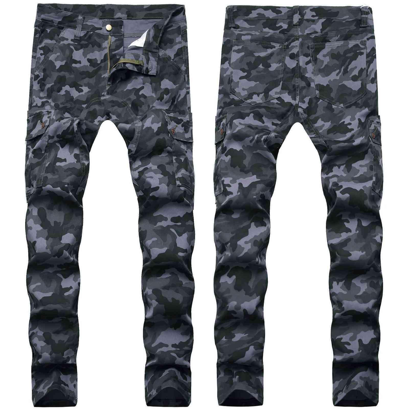 Skinny Mens Camo Jeans Cool Men Jeans Stretch Slim Fit Denim Biker Jeans Hip Hop Men Streetwear 733#