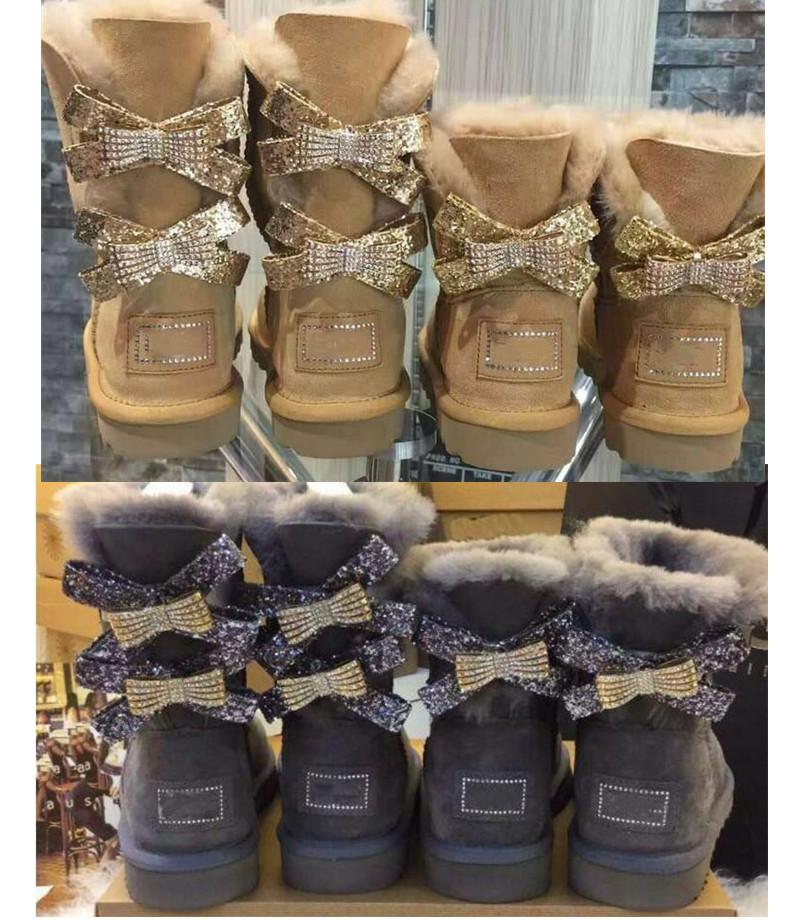 New 2021 Australian snow boots Diamond Bow Warm Genuine Leather Mid calf Mid-calf boots