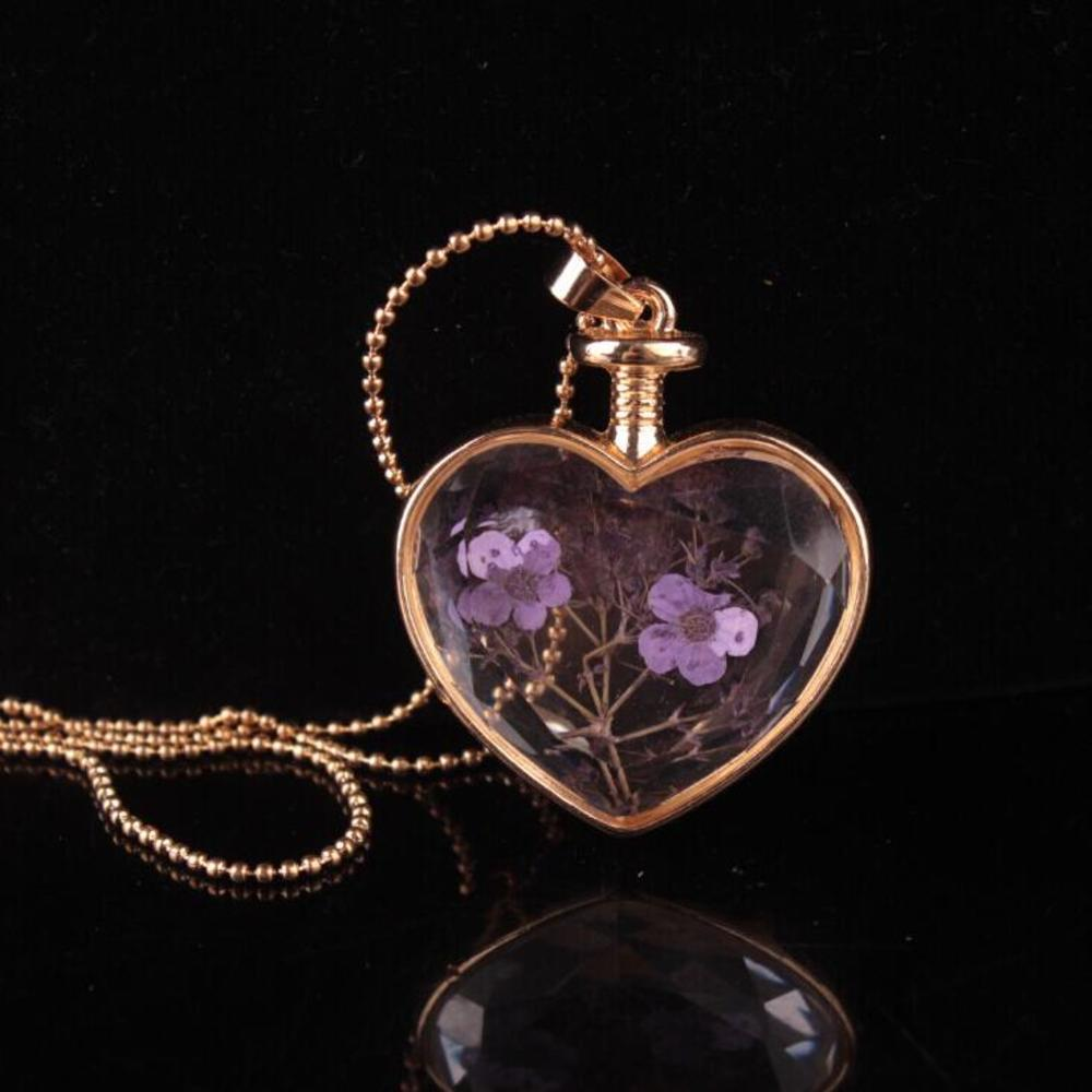 murano heart shape lampwork glass pendants aromatherapy pendant necklaces jewelry dry flowers perfume vial bottle pendants necklace