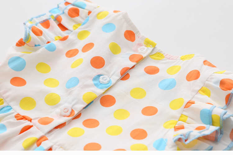 Summer 2-10 Years Beautiful Pretty Sweet Children Baby Kids Pleat Short Fly Sleeve Party Prom Polka Dot Dresses For Girls (12)