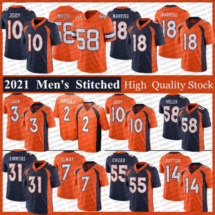 31 Justin Simmons 18 Peyton Manning Football Jerseys 2 Patrick Surtain II 3 Drew Lock 58 Von Miller 7 John Elway 55 Bradley Chubb Courtland Sutton 10 Jerry Jeudy Jersey
