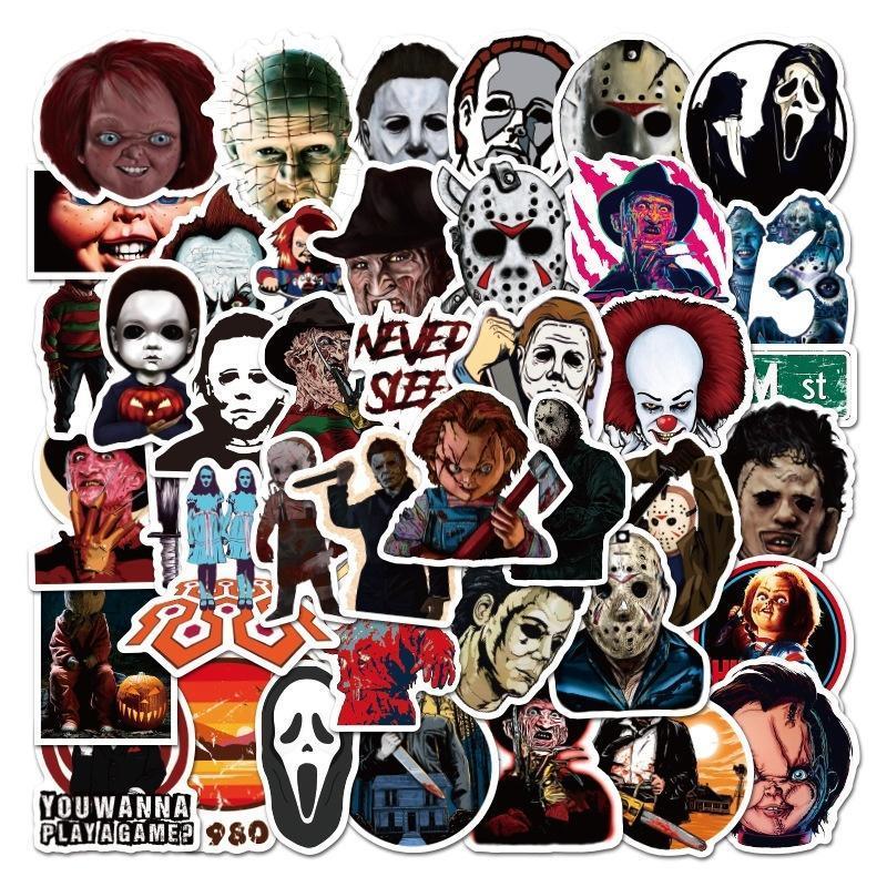 Horror Movie Killer Role Stickers Skateboard Luggage Laptop Waterproof PVC Scrapbooking Halloween Graffiti Sticker Decals
