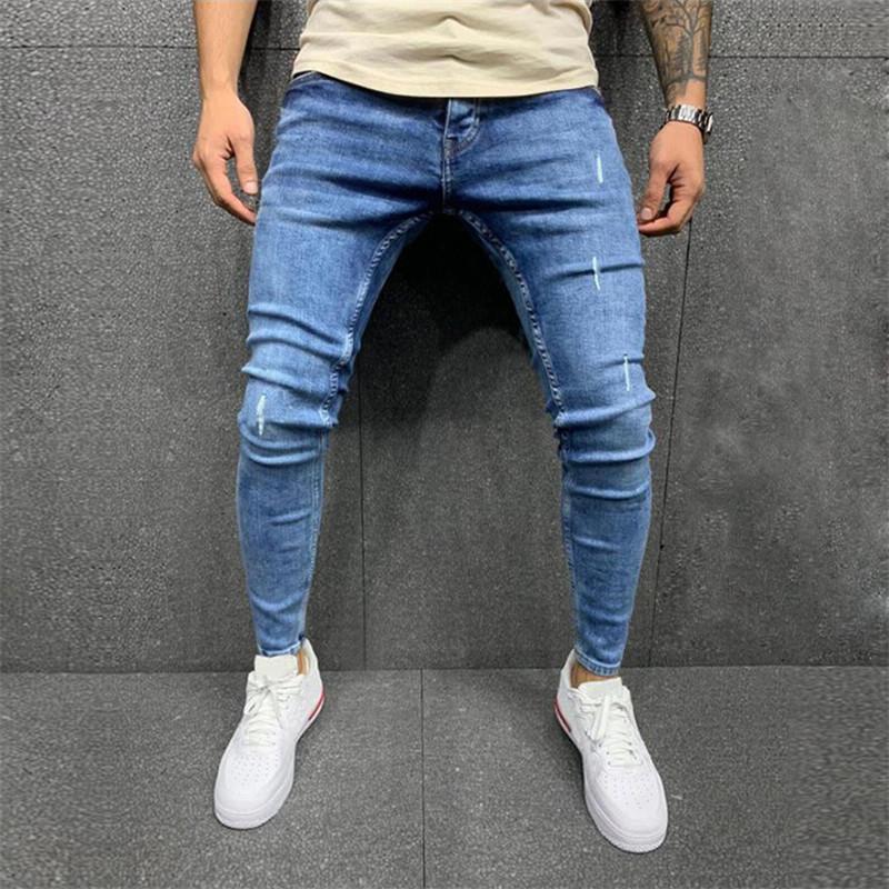 Mens Jeans Blue Skinny Jeans Fashion Denim Pants Ripped Distressed Slim Pencil Pants Motorcycle Pants Large Size