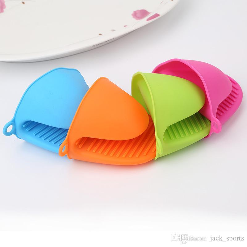 Silicone Heat Resistant Oven Mini Mitts Pot Holder Pinch Grips Anti-scald Gloves Finger Protector Sweet Color Plate Dish Clip for Cooking