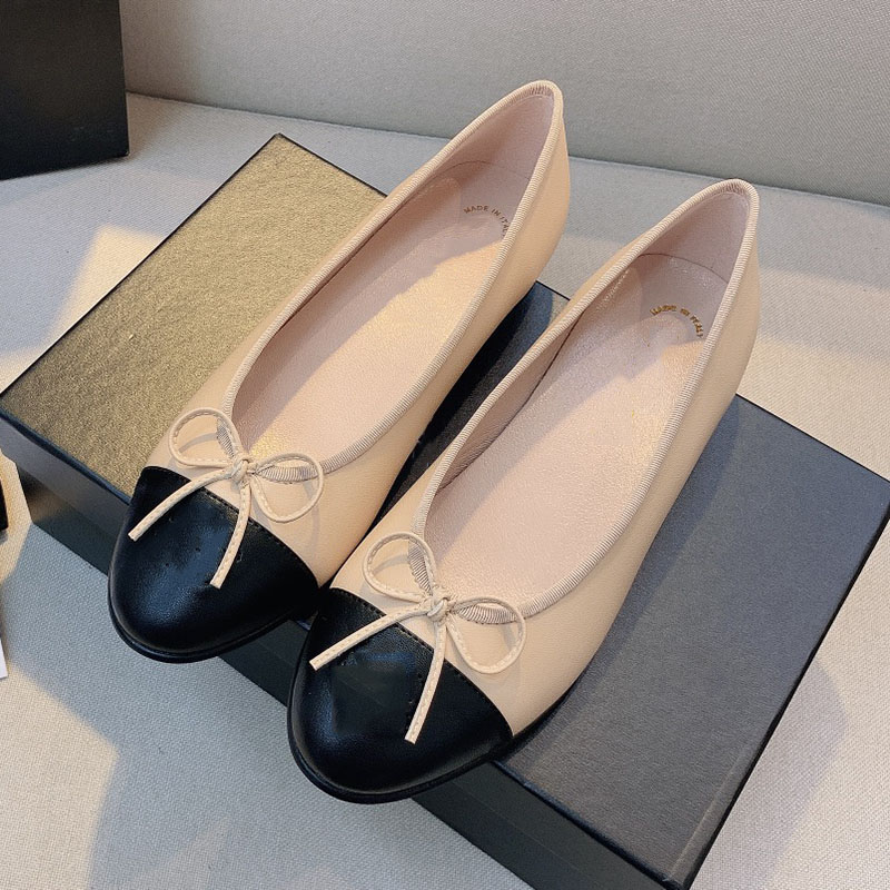 Designer Women Ballet Flat Heel Shoe 2021s Paris Vintage Fashion Bow Woolen Tweed Office Loafer Sandal Genuine Patent Leather Dance Sandals Luxurys Designers Shoes