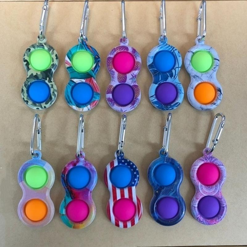2021 Metal Clip Simple Dimple Key Ring Silicone Push Bubble Toy Keychain Pop it Fidget Sensory Toys UA Flags Camo Border Fingertip FY