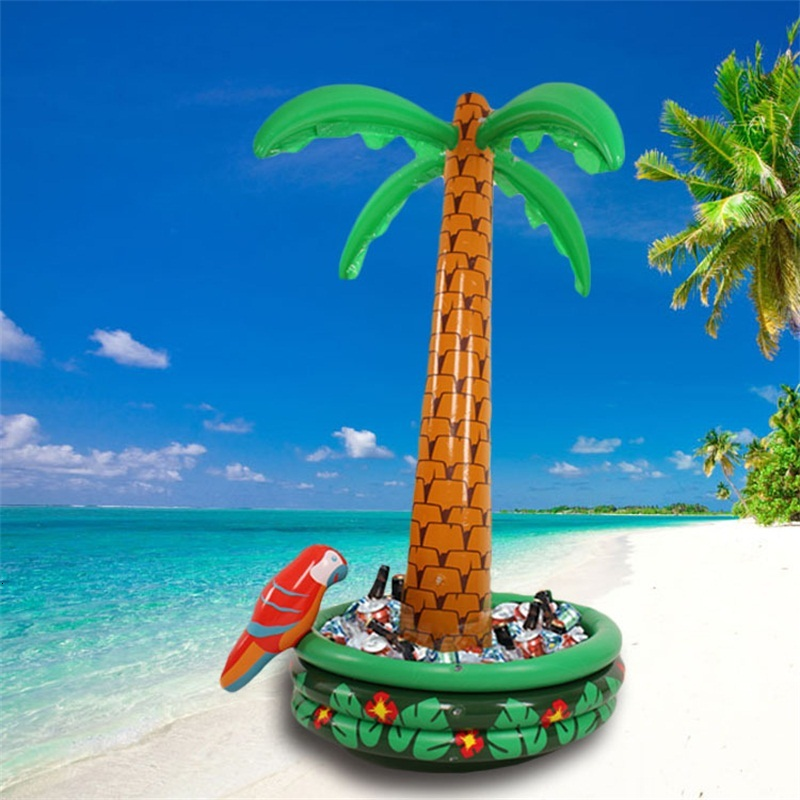 Coconut Tree Ice Bucket Inflatable Party Cooler Salad Bar Home Furnishings Camping PVC Green Universal Eco Friendly 47wf C1