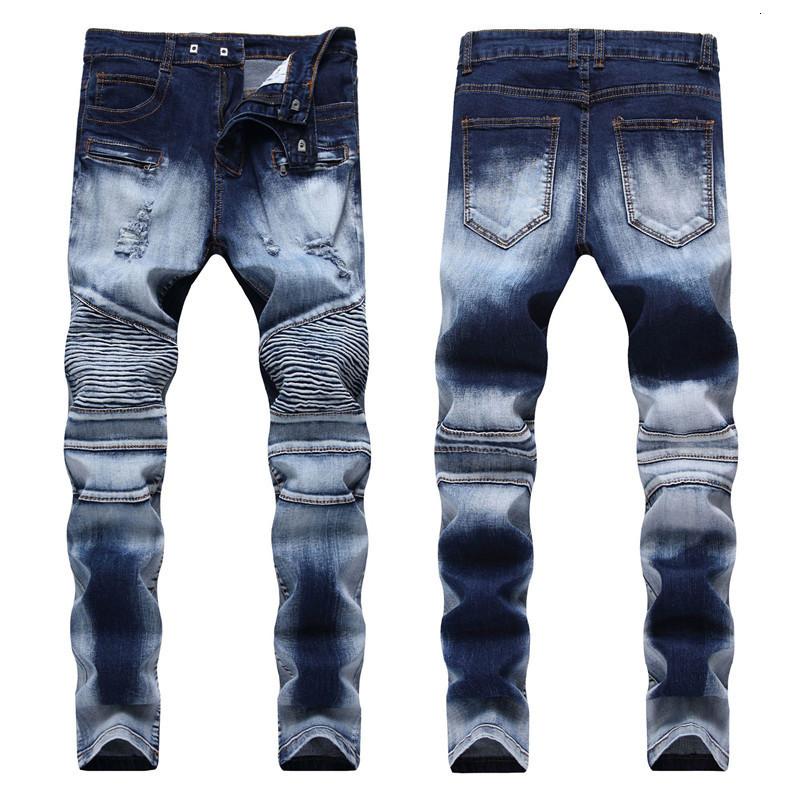 Men's Distressed Ripped Jeans Fashion Mens Slim Skinny Jeans Motorcycle Moto Biker Causal Mens Denim Pants Hip Hop Men Jeans 1922