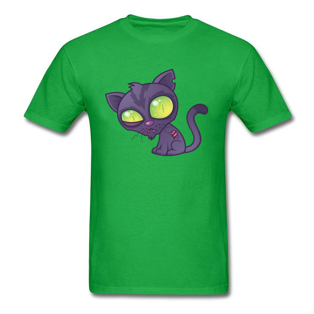 Round Neck Zombie Kitty 100% Cotton Mens T-shirts Customized Short Sleeve Tees Funny Cool T Shirts Free Shipping Zombie Kitty green