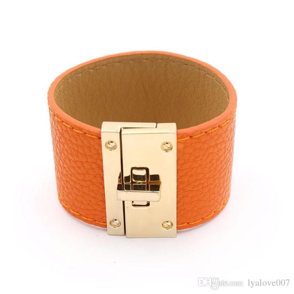 Metal Charm H Bracelet Wide Leather PU Bracelets Bangles for women men Punk Femme Pulseira Feminina Masculina Jewelry