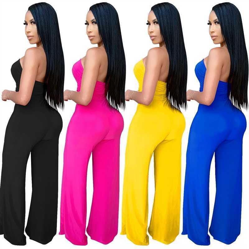 PQmVB X3639 new fashion women's Jumpsuit pants wide leg pantssexy chest wrapped Jumpsuit women's wide leg pants