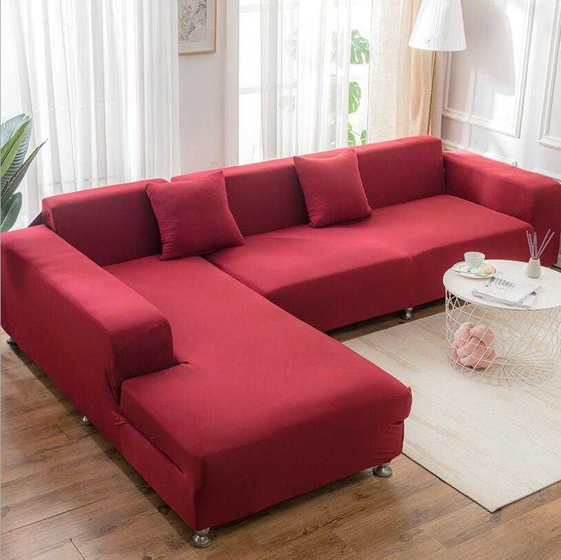 Easy Storage Elasticity Sofa Cover Extensible Couch SofaCovers Sectional Solid Color Single/two/three/four Seats L Shape Need Buy
