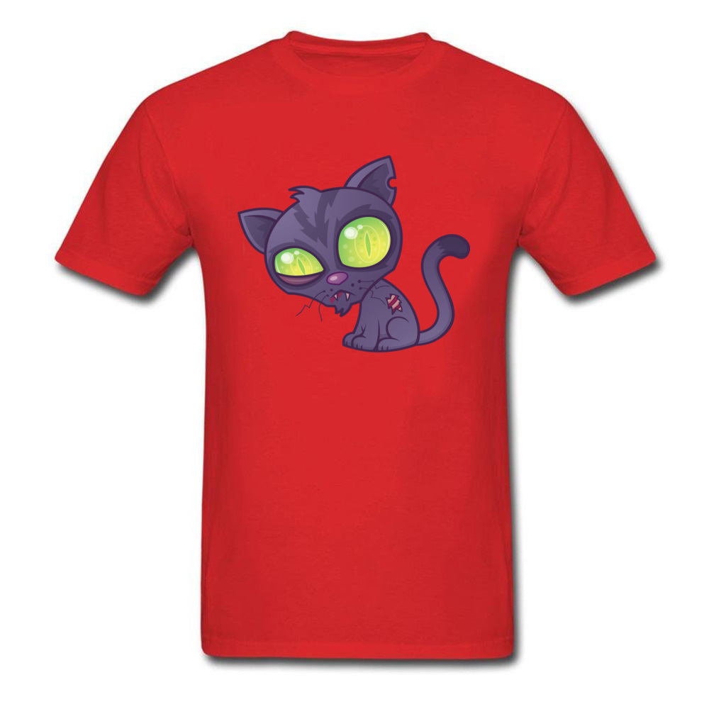 Round Neck Zombie Kitty 100% Cotton Mens T-shirts Customized Short Sleeve Tees Funny Cool T Shirts Free Shipping Zombie Kitty red