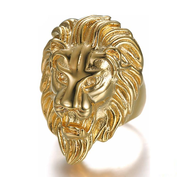Color High Quality Animal Ring Men's Lion Rings 316L Stainless Steel Rock Punk Men Lion's Head Jewelry Cluster