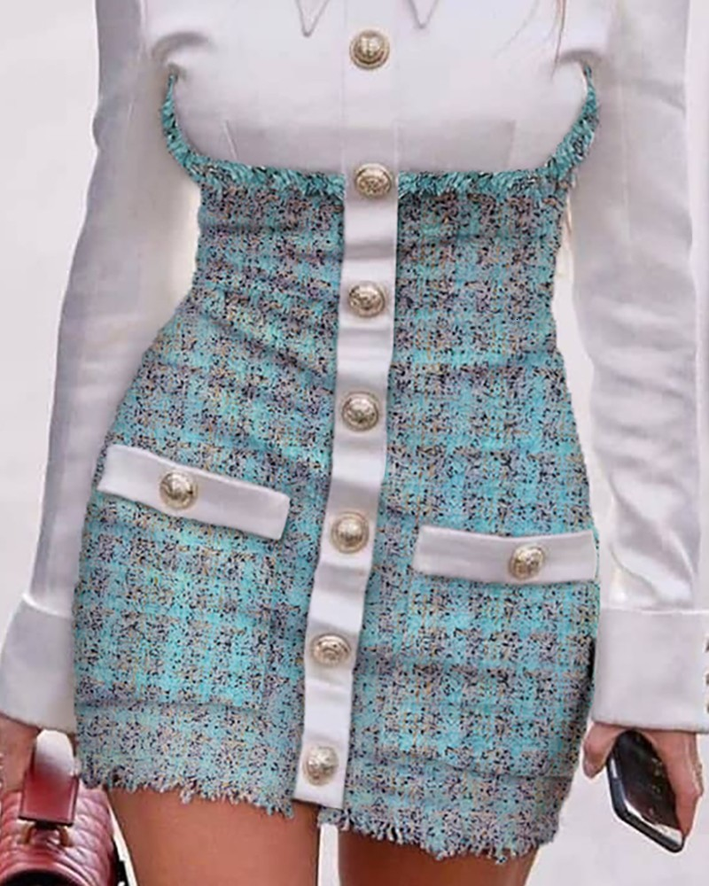 2020 new design european fashion women's faux turn down collar shirt patched tweed woolen single breasted pencil bodycon dress