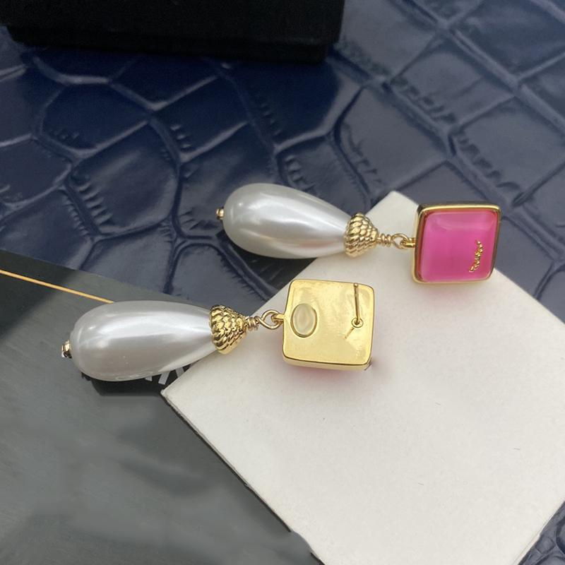 Stud Designer Earrings Classic Double Letter Pink Resin Pearl Pendant 925 Silver Needle With Box