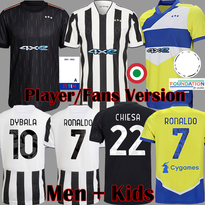 2021 2022 player version soccer jersey black white football shirts yellow men kits kids equipment tops