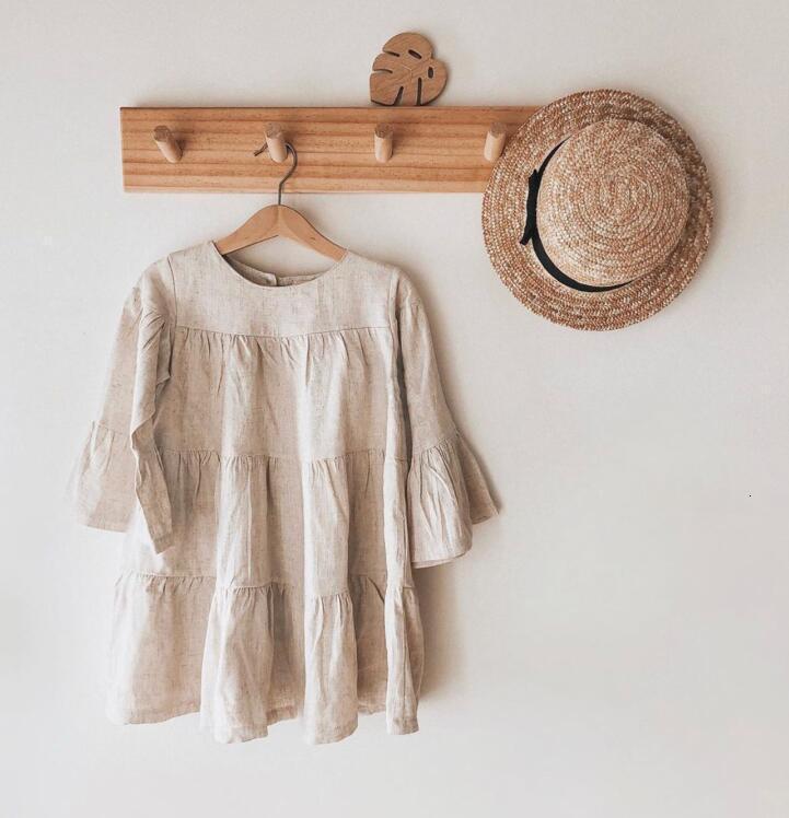 DB Newest INS Little Girls Organic Linen Cotton Dresses Long Sleeve Blank Beige Linen Dresses Children Girls Ruffles Casual Princess Dress