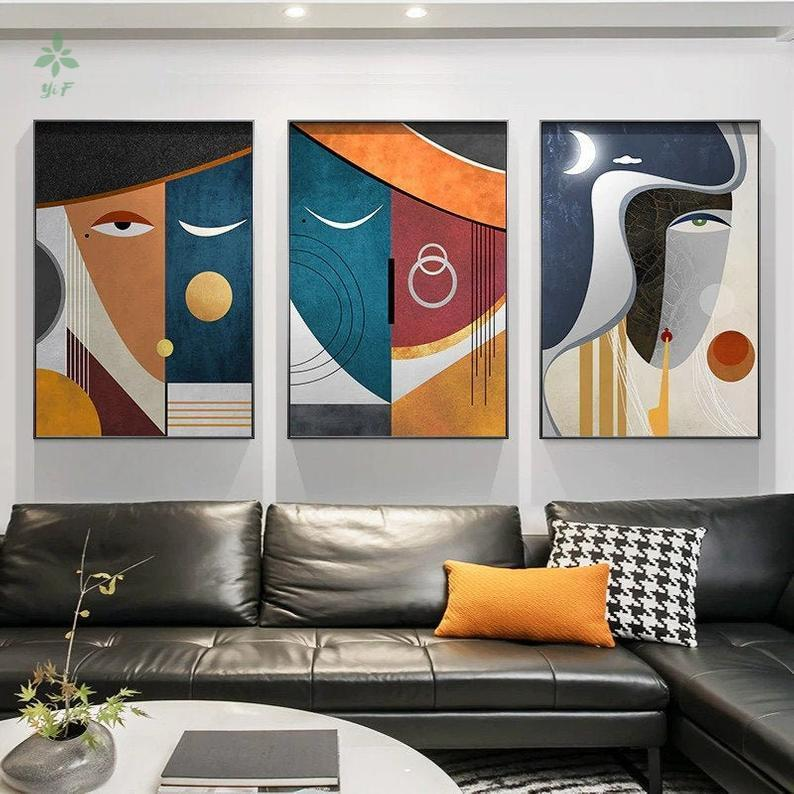 Paintings Abstract Face Art Print Modern Geometric Living Room Decor Canvas Indoor Decoration
