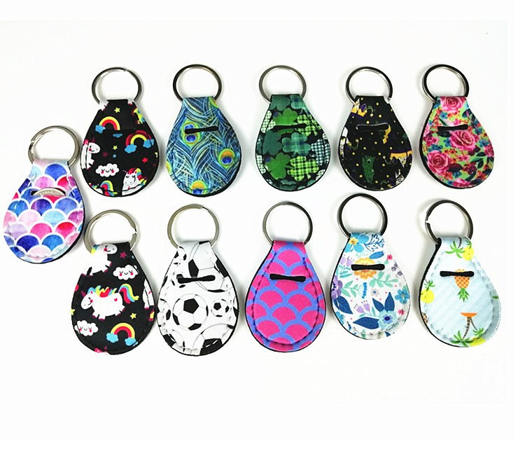 Neoprene Quarter Holder Keychain Diving Material for Party Favor Designs Unicorn Pattern Floral Print with Metal Ring GWD10014