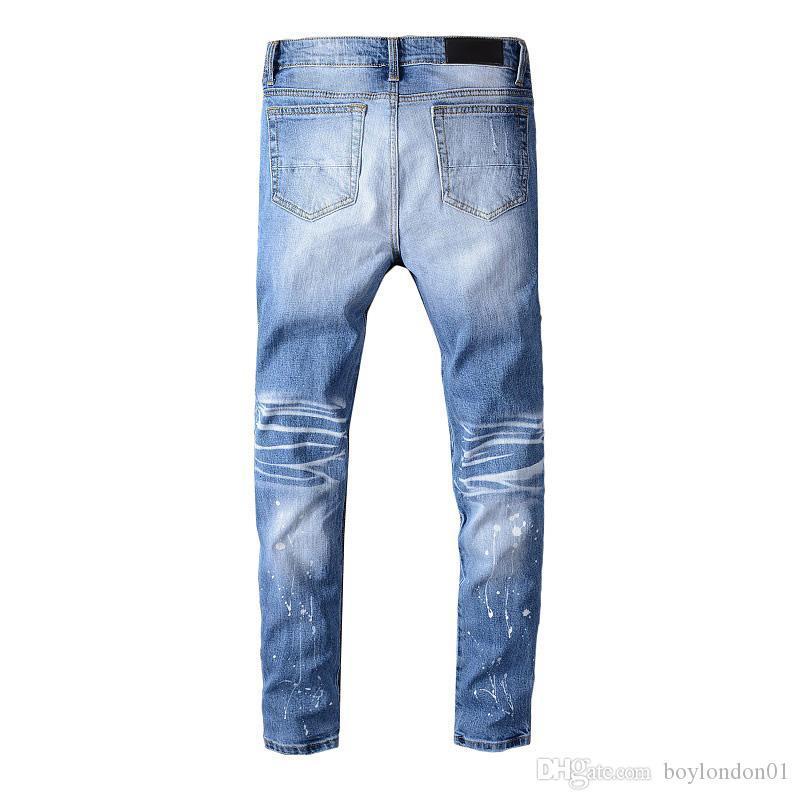 Famous Mens Designer Skinny Slim Elastic Denim Pant Fit Biker Jean Fashion Zipper Ripped Pants Casual High Quality Trousers