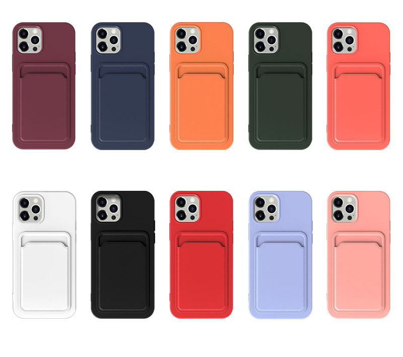 Card Slot Holder Liquid Silicone Soft TPU Cell Phone Cases for iPhone 13 12 11 Pro Max Mini XR XS X 8 7 6 Plus