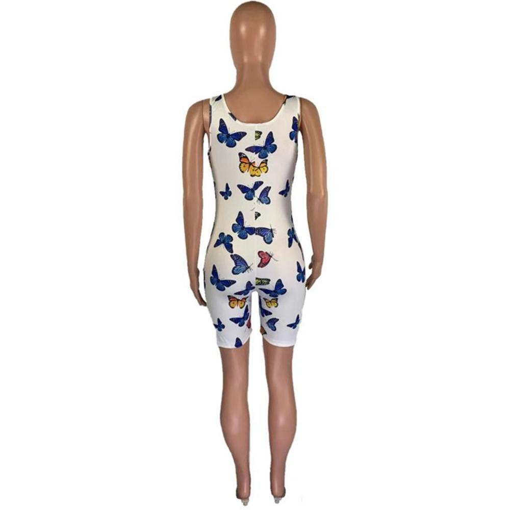 Women Rompers Butterfly Skinny Sleeveless Shorts Jumpsuits Casual Floral Printed Summer U Neck Femme Rompers